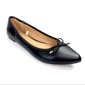 Merona Faux Leather Pointed Flats With Bow Black